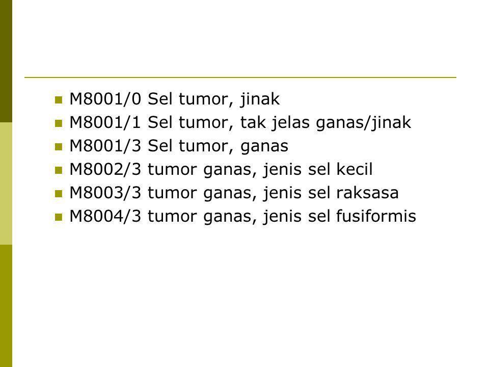 M8001/0 Sel tumor, jinak M8001/1 Sel tumor, tak jelas ganas/jinak M8001/3 Sel tumor, ganas M8002/3 tumor ganas, jenis sel kecil M8003/3 tumor ganas, j