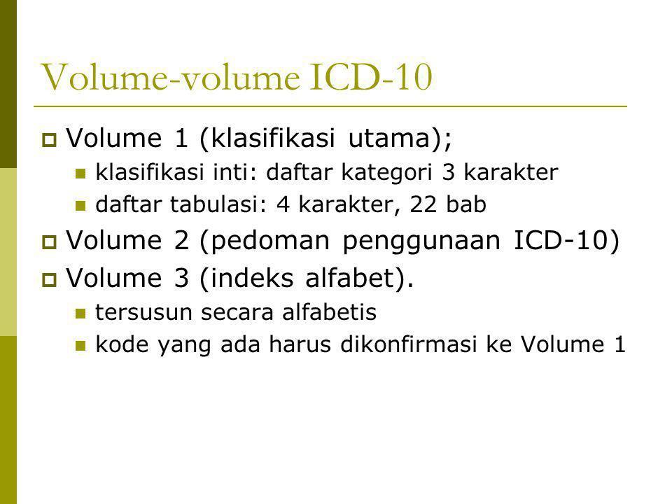 Volume-volume ICD-10  Volume 1 (klasifikasi utama); klasifikasi inti: daftar kategori 3 karakter daftar tabulasi: 4 karakter, 22 bab  Volume 2 (pedo