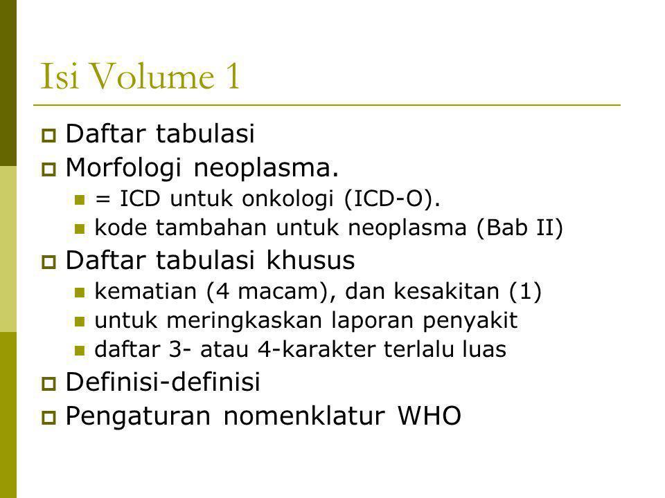 Isi Volume 1  Daftar tabulasi  Morfologi neoplasma. = ICD untuk onkologi (ICD-O). kode tambahan untuk neoplasma (Bab II)  Daftar tabulasi khusus ke