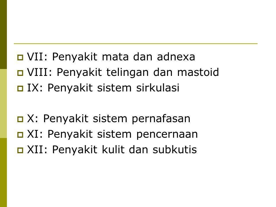  VII: Penyakit mata dan adnexa  VIII: Penyakit telingan dan mastoid  IX: Penyakit sistem sirkulasi  X: Penyakit sistem pernafasan  XI: Penyakit s