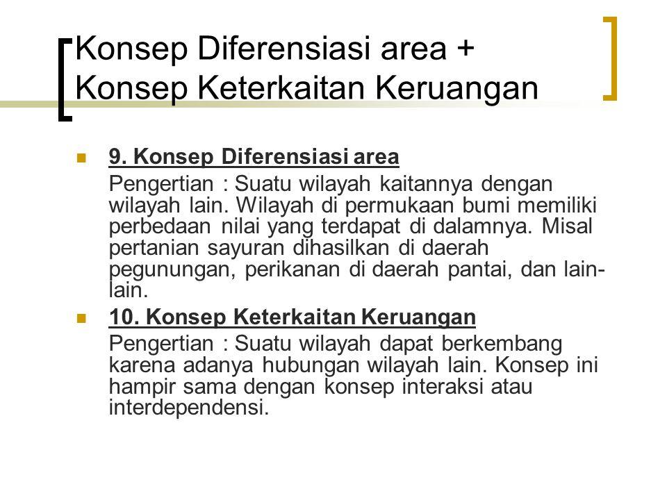 Konsep Diferensiasi area + Konsep Keterkaitan Keruangan 9. Konsep Diferensiasi area Pengertian : Suatu wilayah kaitannya dengan wilayah lain. Wilayah