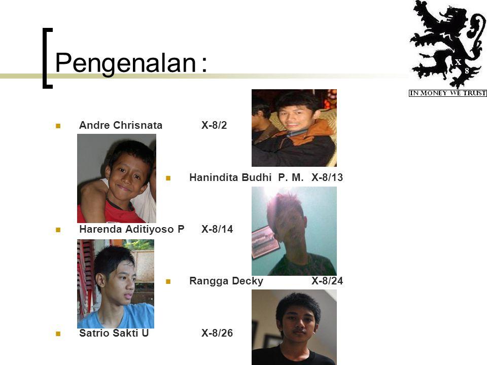 Pengenalan: Andre ChrisnataX-8/2 Hanindita Budhi P. M.X-8/13 Harenda Aditiyoso PX-8/14 Rangga DeckyX-8/24 Satrio Sakti UX-8/26