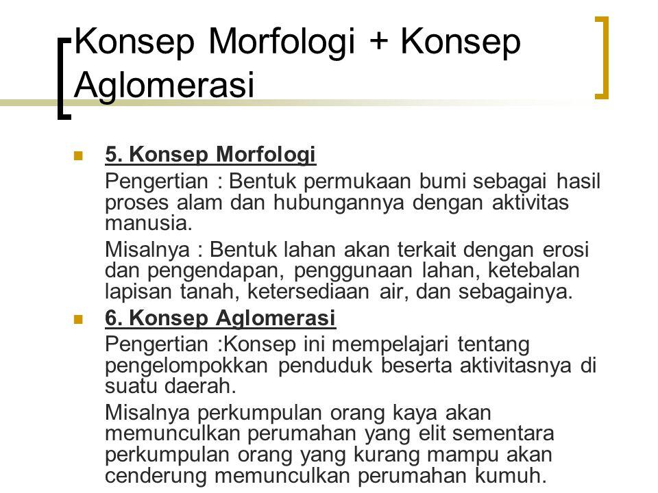 Konsep Morfologi + Konsep Aglomerasi 5. Konsep Morfologi Pengertian : Bentuk permukaan bumi sebagai hasil proses alam dan hubungannya dengan aktivitas