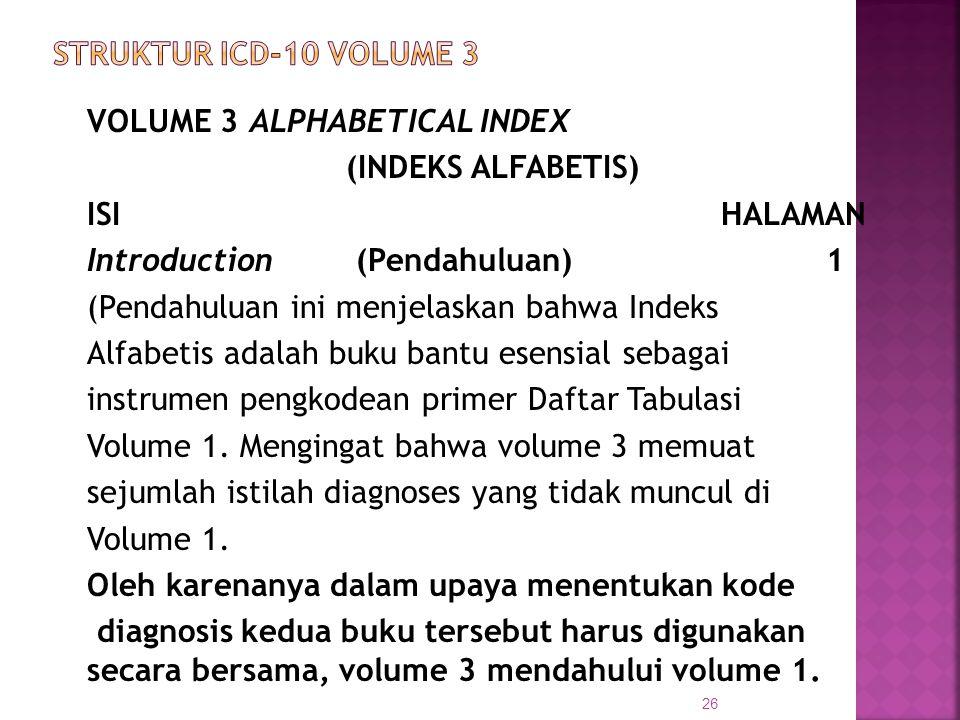VOLUME 3ALPHABETICAL INDEX (INDEKS ALFABETIS) ISI HALAMAN Introduction (Pendahuluan)1 (Pendahuluan ini menjelaskan bahwa Indeks Alfabetis adalah buku