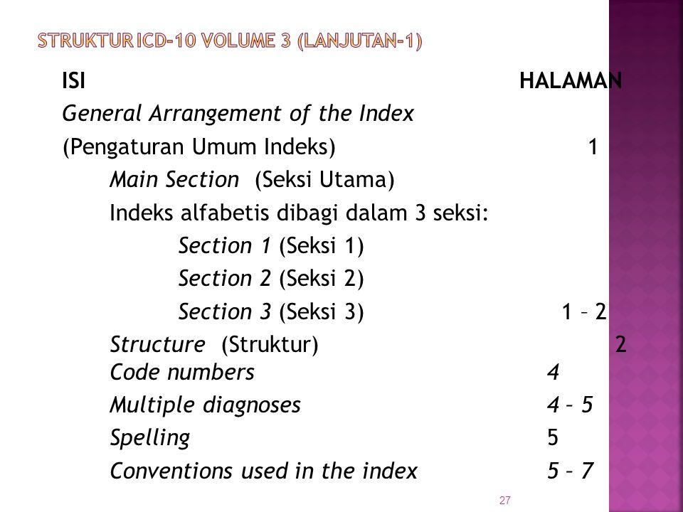 ISIHALAMAN General Arrangement of the Index (Pengaturan Umum Indeks)1 Main Section (Seksi Utama) Indeks alfabetis dibagi dalam 3 seksi: Section 1 (Sek