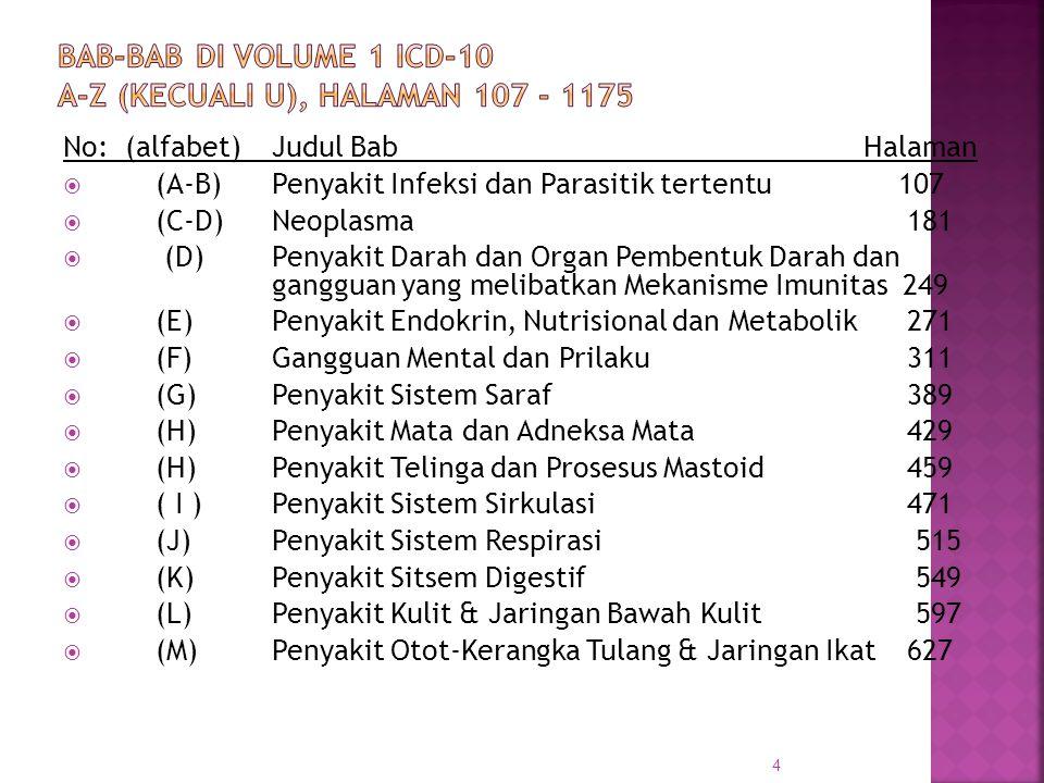 No: (alfabet)Judul Bab Halaman XIV(N)Penyakit Sistem Genitourinaria679 XV(O)Kehamilan, persalinan-kelahiran dan nifas 721 XVI(P) Kondisi-kondisi tertentu dimulai dalam periode perinatal 765 XVII(Q)Malformasi, deformasi dan abnormalitas kromosomal yang kongenital 795 XVIII.