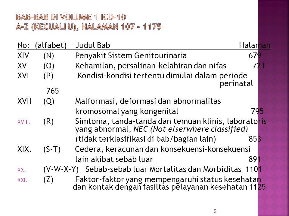 No: (alfabet)Judul Bab Halaman XIV(N)Penyakit Sistem Genitourinaria679 XV(O)Kehamilan, persalinan-kelahiran dan nifas 721 XVI(P) Kondisi-kondisi terte
