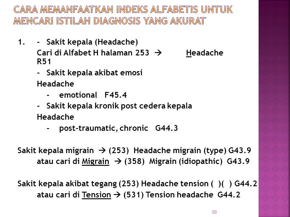 1.-Sakit kepala (Headache) Cari di Alfabet H halaman 253  Headache R51 -Sakit kepala akibat emosi Headache - emotionalF45.4 -Sakit kepala kronik post