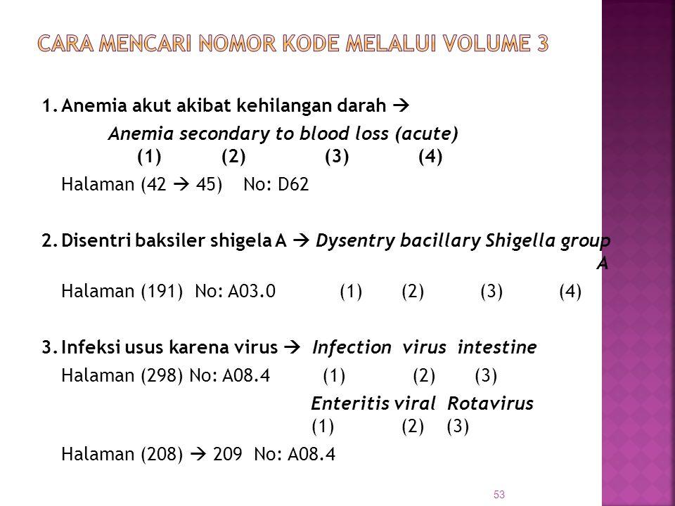 1.Anemia akut akibat kehilangan darah  Anemia secondary to blood loss (acute) (1) (2) (3) (4) Halaman (42  45) No: D62 2.Disentri baksiler shigela A