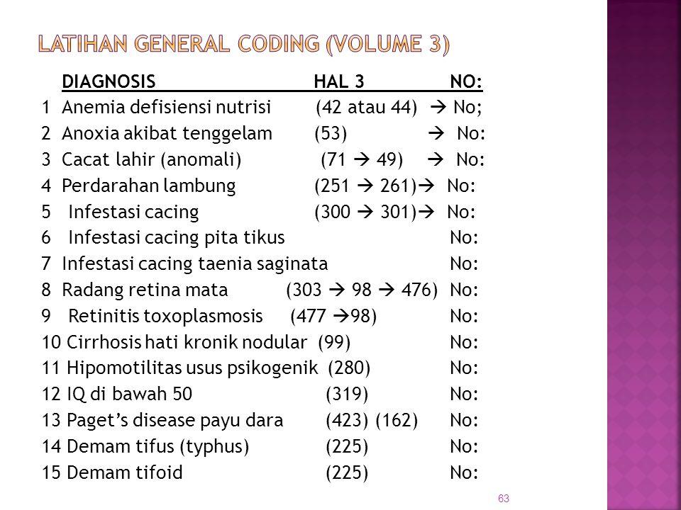 DIAGNOSISHAL 3 NO: 1Anemia defisiensi nutrisi (42 atau 44)  No; 2Anoxia akibat tenggelam(53)  No: 3Cacat lahir (anomali) (71  49)  No: 4Perdarahan
