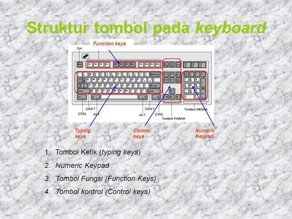Struktur tombol pada keyboard Typing keys Control keys Numeric Keypad Function keys 1.Tombol Ketik (typing keys) 2.Numeric Keypad 3.Tombol Fungsi (Function Keys) 4.Tombol kontrol (Control keys)
