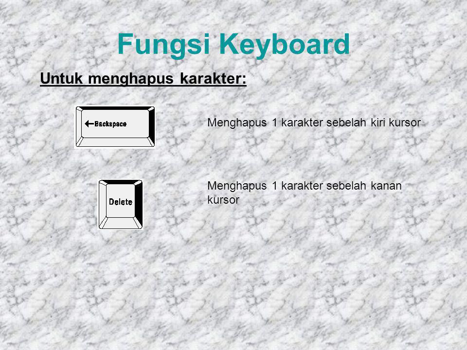 Fungsi Keyboard Tombol ALT akan berfungsi bila penggunaannya dipasangkan dengan tombol lainnya, misal Alt+F4 Tombol Ctrl akan berfungsi bila penggunaannya dipasangkan dengan tombol lainnya, misal Alt+F4 Tombol F1 – F12 adalah tombol fungsi yang pemanfaatannya disesuaikan dengan sistem operasi atau aplikasi, misal F1 - Help