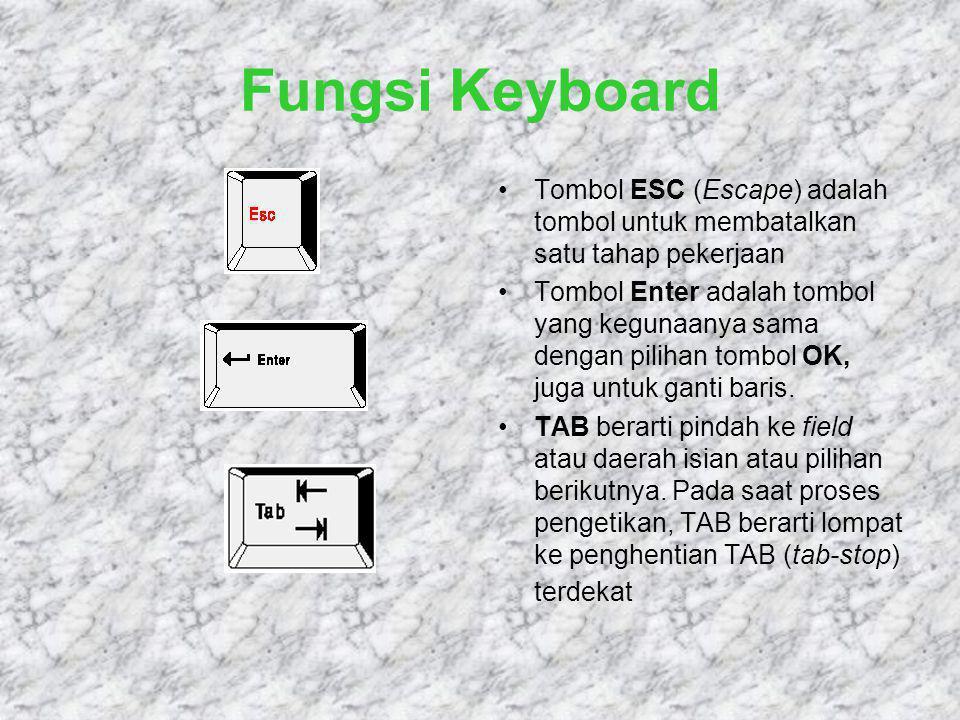 Fungsi Keyboard Tombol ESC (Escape) adalah tombol untuk membatalkan satu tahap pekerjaan Tombol Enter adalah tombol yang kegunaanya sama dengan piliha