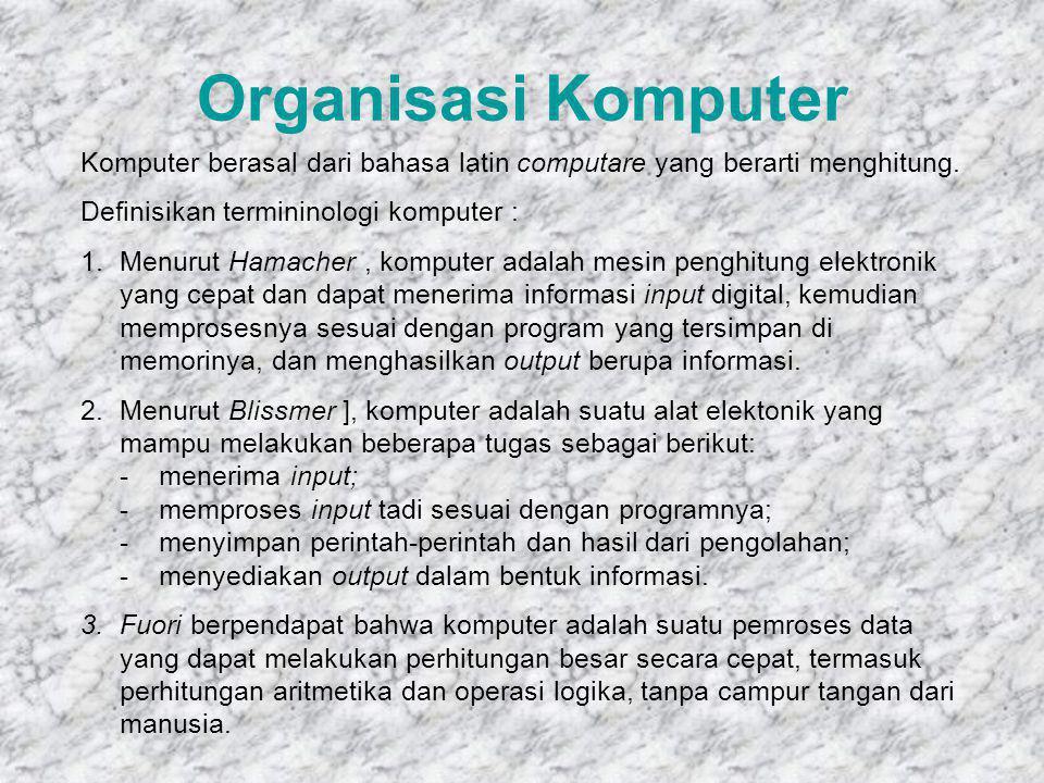 Organisasi Komputer Komputer berasal dari bahasa latin computare yang berarti menghitung.