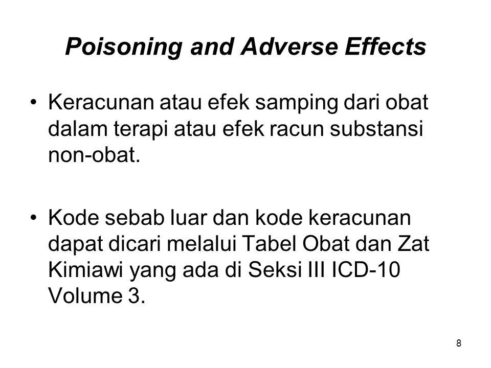 Poisoning (Lanjutan) Ada Note yang menjelaskan kode sebab luar dibagi dalam lajur kolom-lokom yang menunjukkan maksud tujuan cederanya: kecelakaan, usaha bunuh diri, tidak dapat dipastikan, penggunaan dalam terapi.