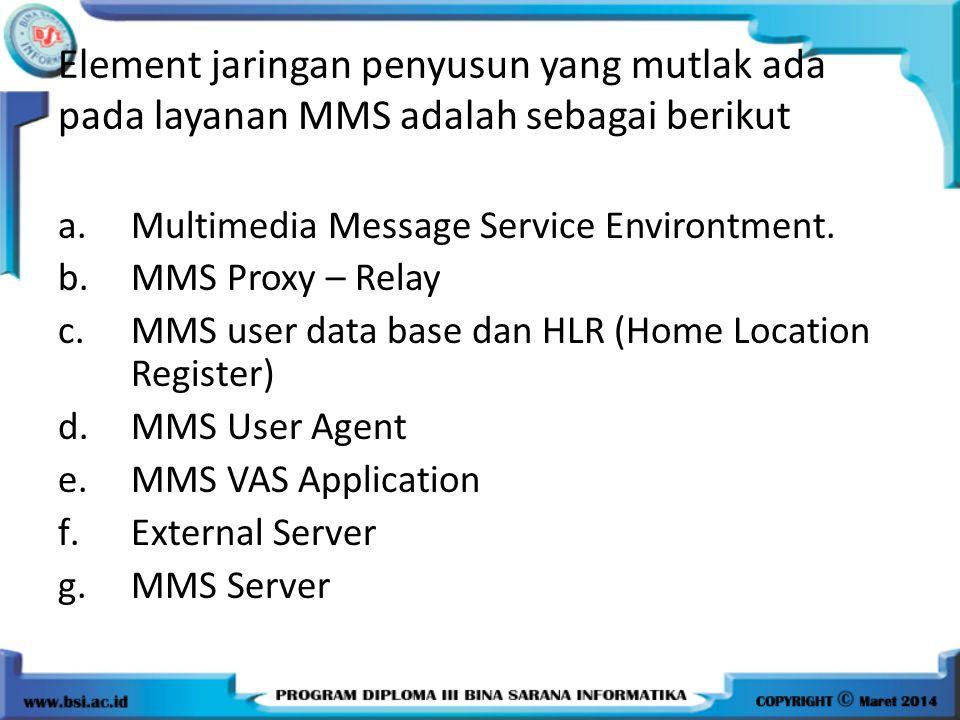 Element jaringan penyusun yang mutlak ada pada layanan MMS adalah sebagai berikut a.Multimedia Message Service Environtment.