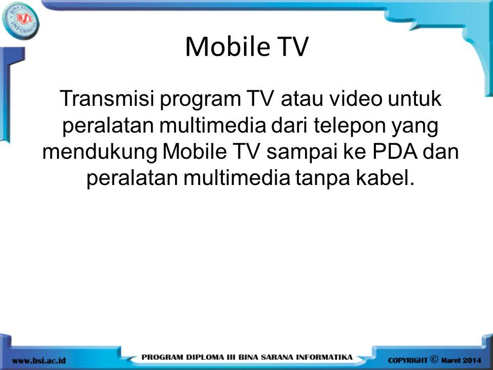 Mobile TV Transmisi program TV atau video untuk peralatan multimedia dari telepon yang mendukung Mobile TV sampai ke PDA dan peralatan multimedia tanpa kabel.