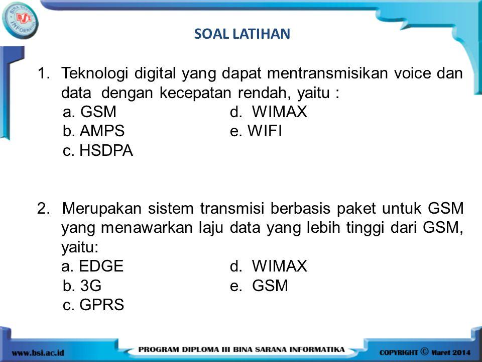 SOAL LATIHAN 1.Teknologi digital yang dapat mentransmisikan voice dan data dengan kecepatan rendah, yaitu : a.