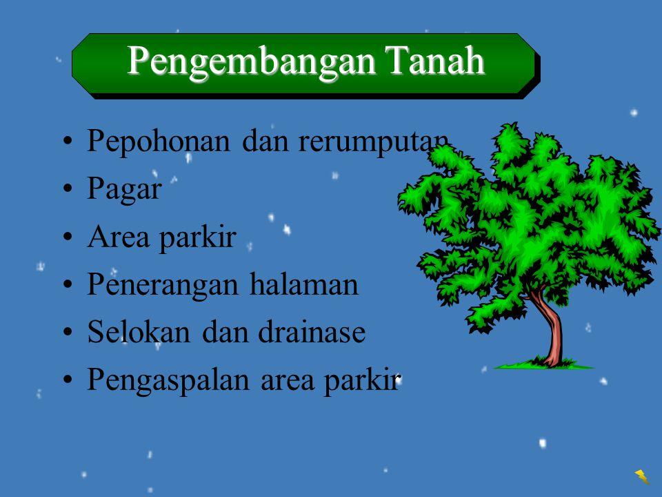 Pengembangan Tanah Pepohonan dan rerumputan Pagar Area parkir Penerangan halaman Selokan dan drainase Pengaspalan area parkir