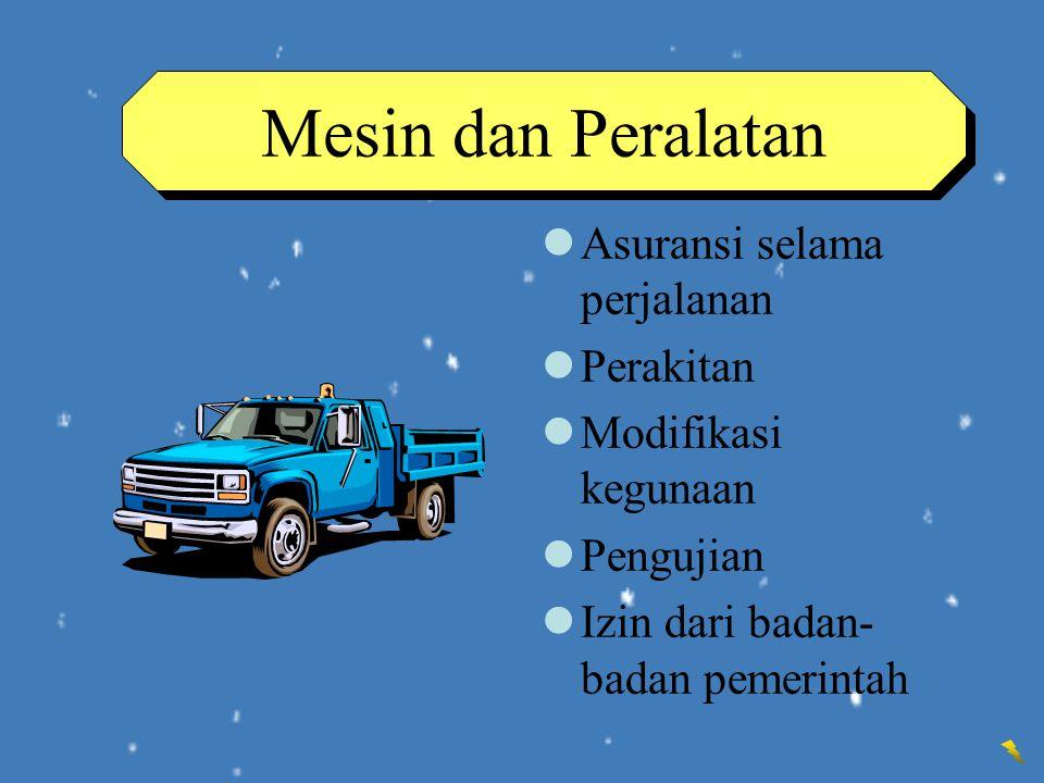 Mesin dan Peralatan Asuransi selama perjalanan Perakitan Modifikasi kegunaan Pengujian Izin dari badan- badan pemerintah