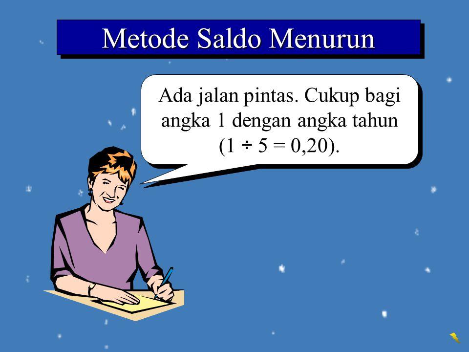 Ada jalan pintas. Cukup bagi angka 1 dengan angka tahun (1 ÷ 5 = 0,20). Metode Saldo Menurun