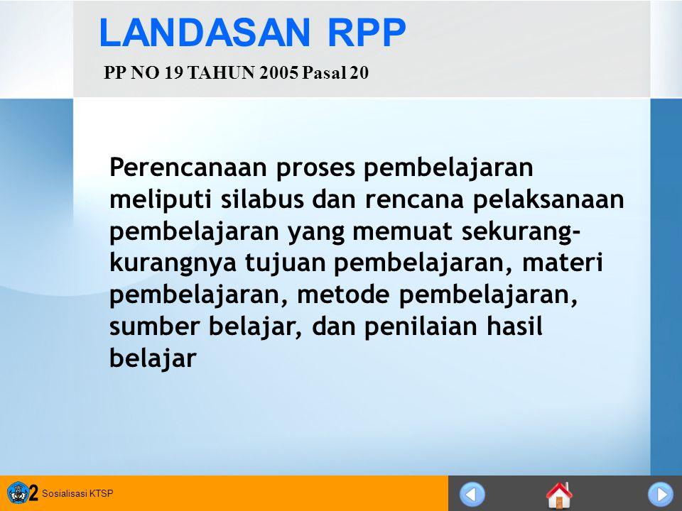 Sosialisasi KTSP 3 PENGERTIAN RPP Rencana pelaksanaan pembelajaran (RPP) adalah rencana yang menggambarkan prosedur dan pengorganisasian pembelajaran untuk mencapai satu kompetensi dasar yang ditetapkan dalam Standar Isi dan telah dijabarkan dalam silabus.