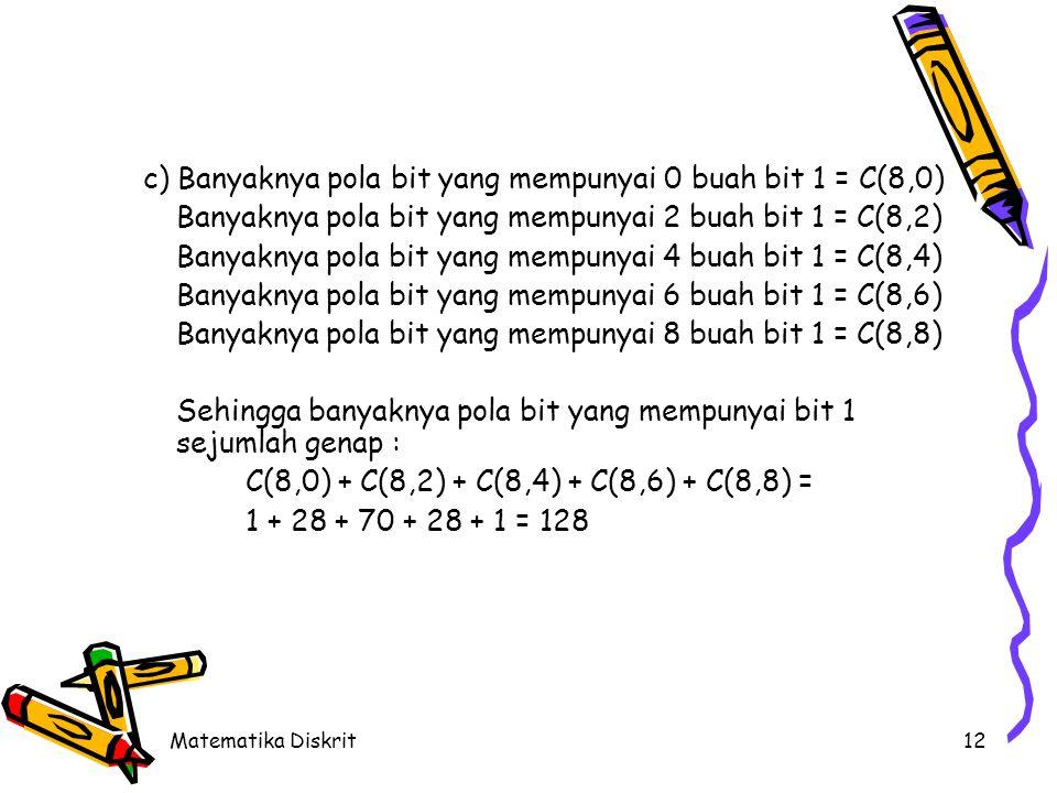 Matematika Diskrit12 c) Banyaknya pola bit yang mempunyai 0 buah bit 1 = C(8,0) Banyaknya pola bit yang mempunyai 2 buah bit 1 = C(8,2) Banyaknya pola