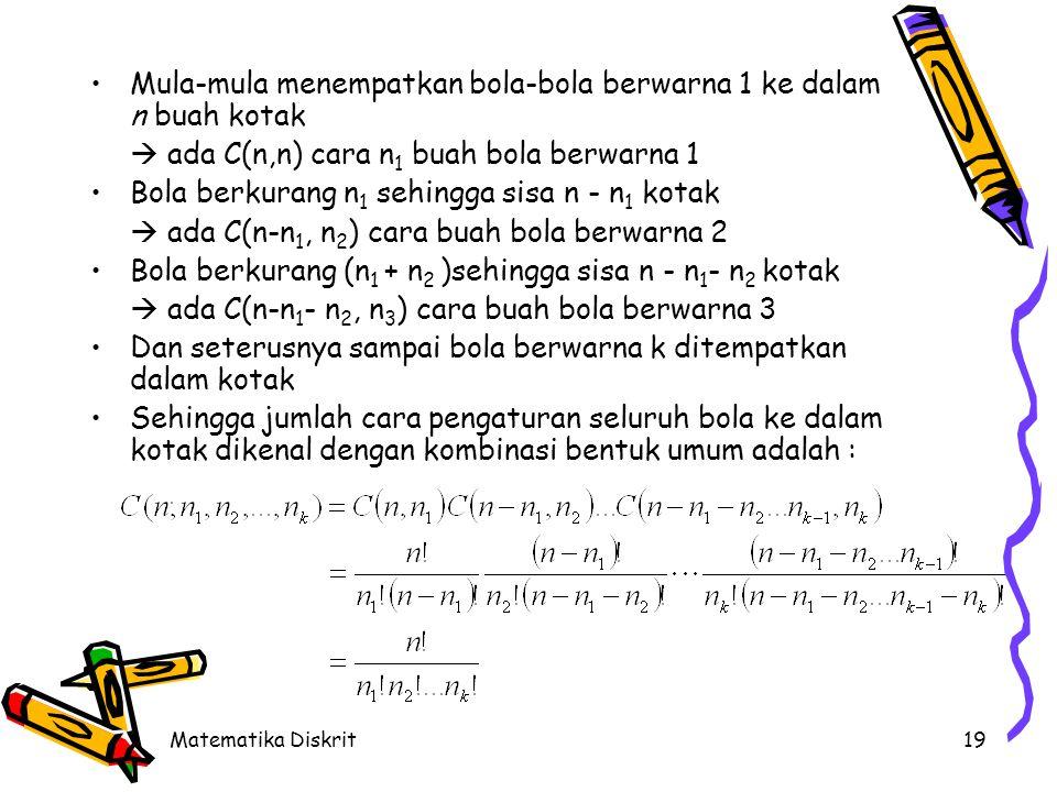 Matematika Diskrit19 Mula-mula menempatkan bola-bola berwarna 1 ke dalam n buah kotak  ada C(n,n) cara n 1 buah bola berwarna 1 Bola berkurang n 1 se