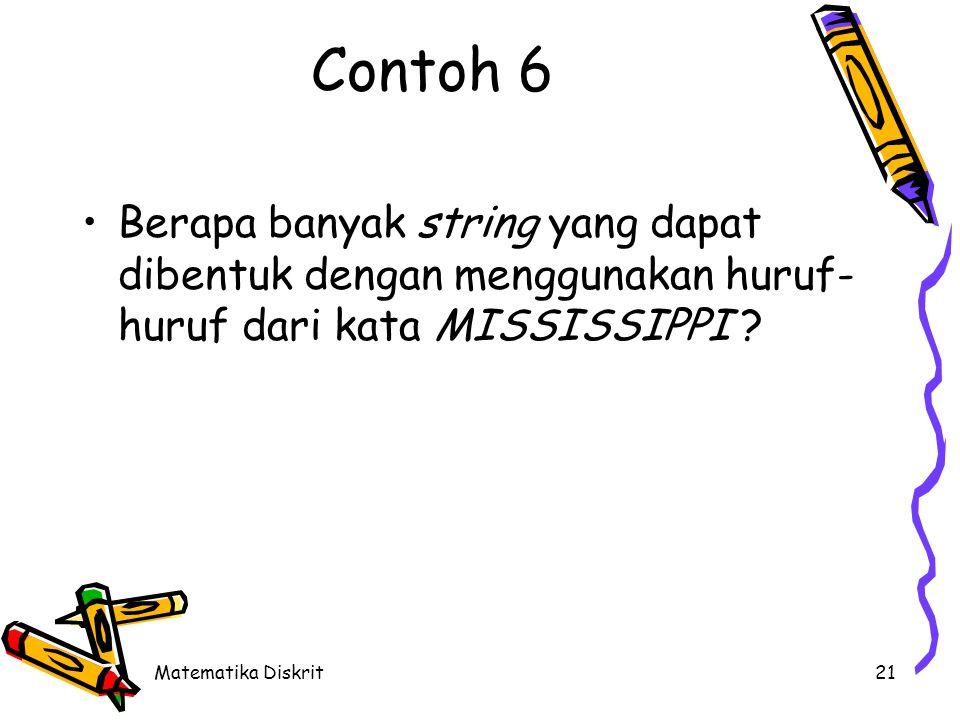 Matematika Diskrit21 Contoh 6 Berapa banyak string yang dapat dibentuk dengan menggunakan huruf- huruf dari kata MISSISSIPPI ?