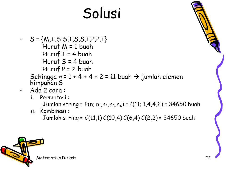 Matematika Diskrit22 Solusi S = {M,I,S,S,I,S,S,I,P,P,I} Huruf M = 1 buah Huruf I = 4 buah Huruf S = 4 buah Huruf P = 2 buah Sehingga n = 1 + 4 + 4 + 2