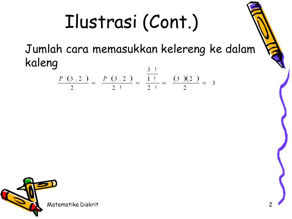 Matematika Diskrit2 Ilustrasi (Cont.) Jumlah cara memasukkan kelereng ke dalam kaleng