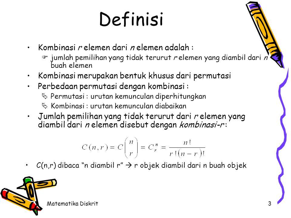 Matematika Diskrit3 Definisi Kombinasi r elemen dari n elemen adalah :  jumlah pemilihan yang tidak terurut r elemen yang diambil dari n buah elemen