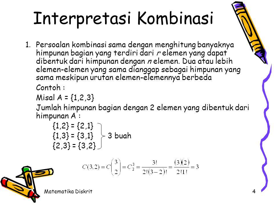 Matematika Diskrit4 Interpretasi Kombinasi 1.Persoalan kombinasi sama dengan menghitung banyaknya himpunan bagian yang terdiri dari r elemen yang dapa