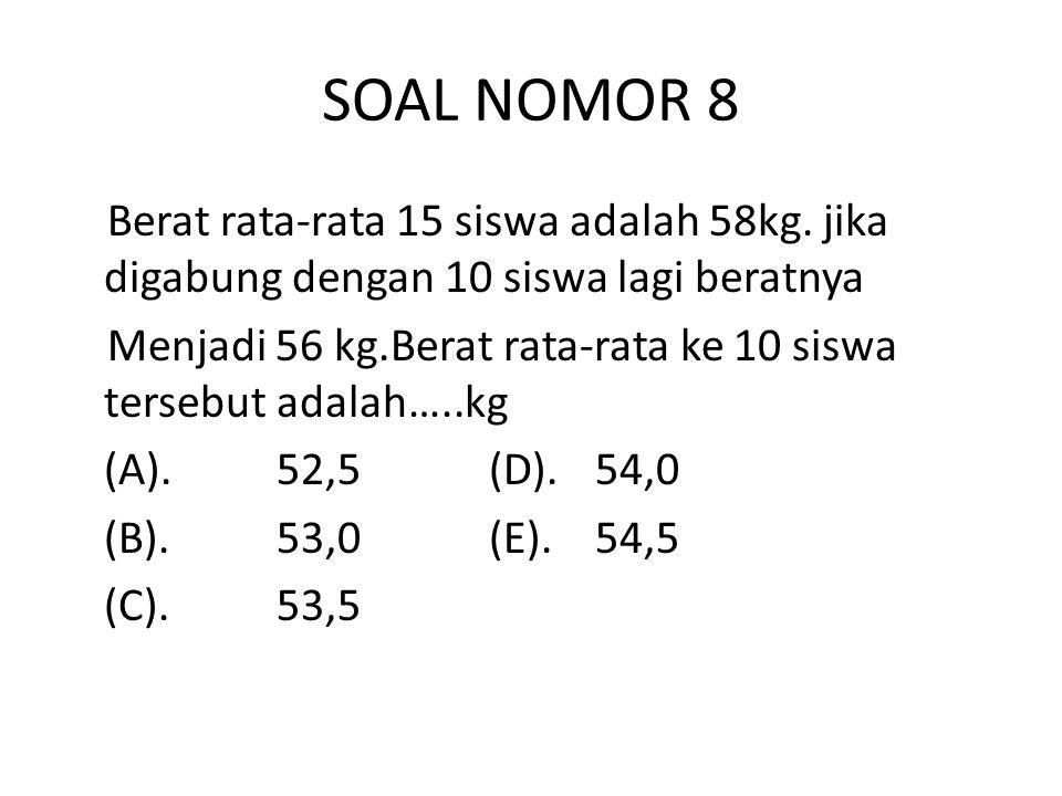SOAL NOMOR 8 Berat rata-rata 15 siswa adalah 58kg.