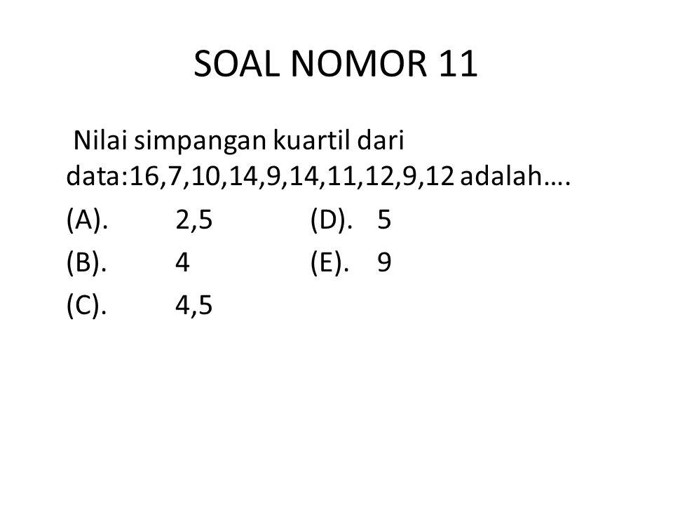 SOAL NOMOR 11 Nilai simpangan kuartil dari data:16,7,10,14,9,14,11,12,9,12 adalah….