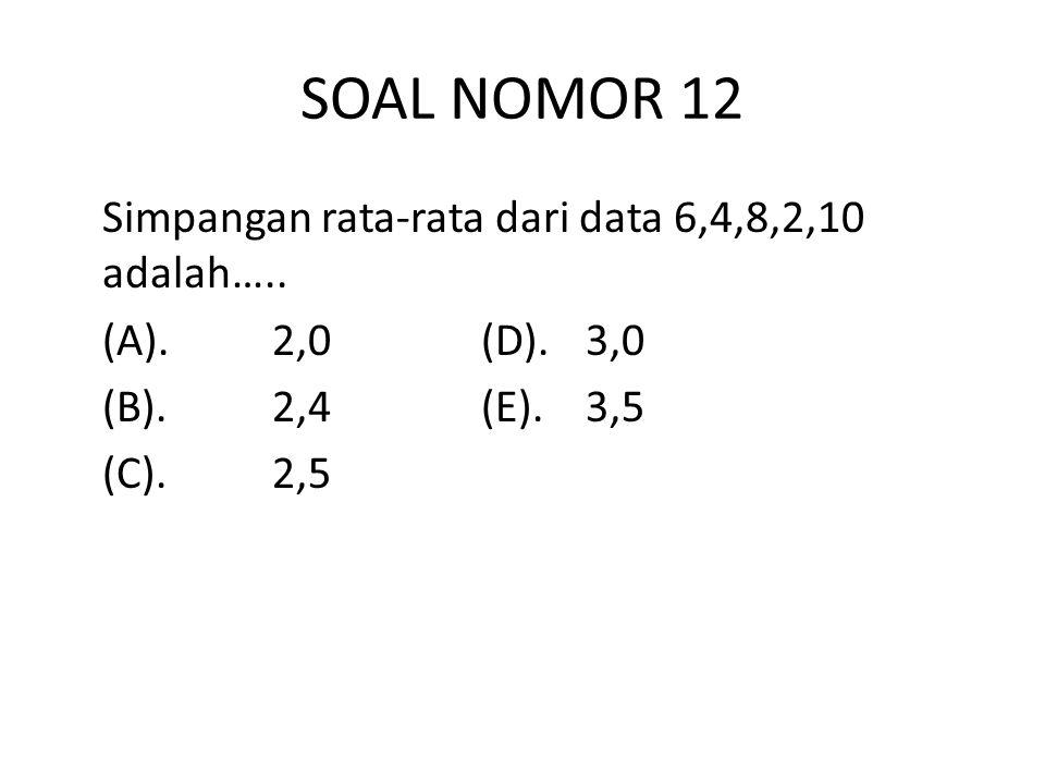 SOAL NOMOR 12 Simpangan rata-rata dari data 6,4,8,2,10 adalah…..