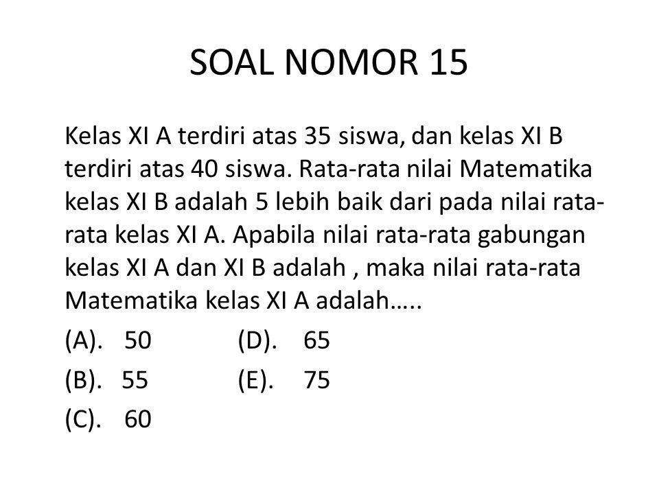 SOAL NOMOR 15 Kelas XI A terdiri atas 35 siswa, dan kelas XI B terdiri atas 40 siswa.