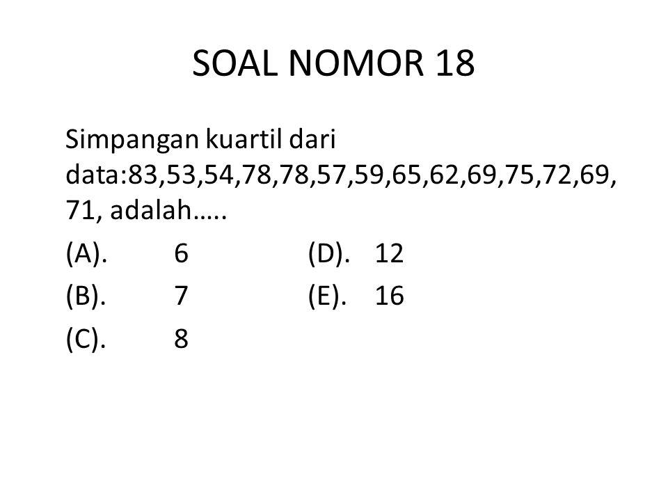 SOAL NOMOR 18 Simpangan kuartil dari data:83,53,54,78,78,57,59,65,62,69,75,72,69, 71, adalah…..