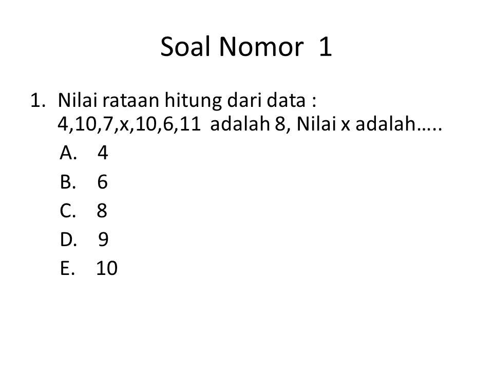 Soal Nomor 1 1.Nilai rataan hitung dari data : 4,10,7,x,10,6,11 adalah 8, Nilai x adalah…..