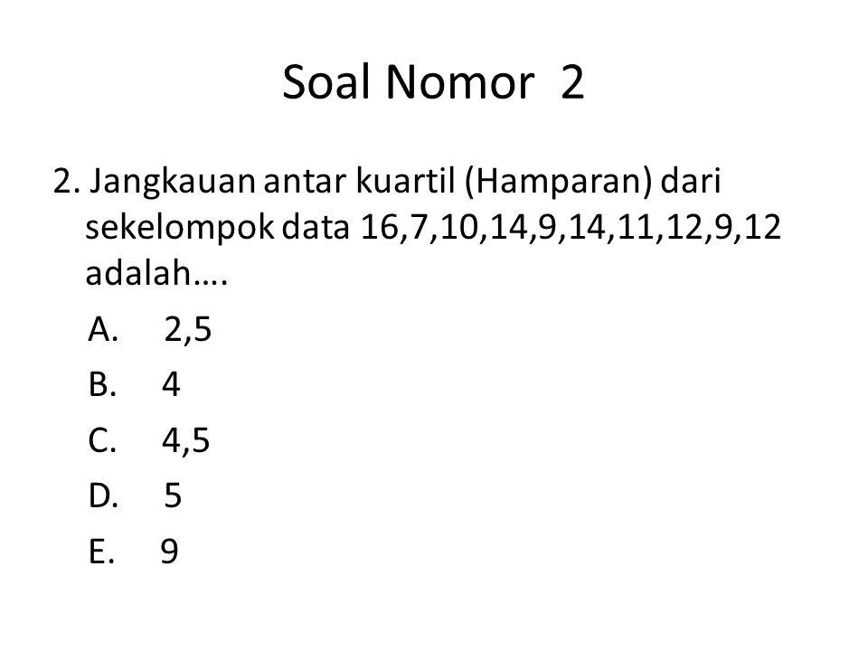 SOAL NOMOR 13 Nilai ragam dari data 8,8,7,6,8,12,7,8 adalah….. (A).5/4(D).8 (B).11/4(E).22 (C).13/4