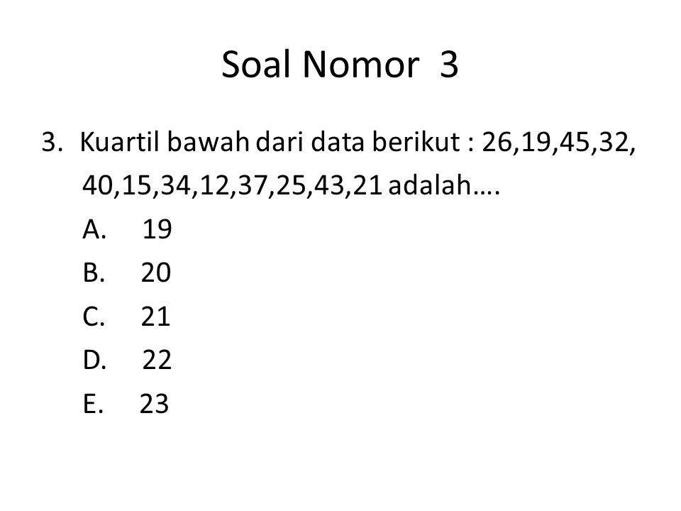 Soal Nomor 4 4.Ditentukan data : 6,7,3,2,2,2,2,5,4,8.