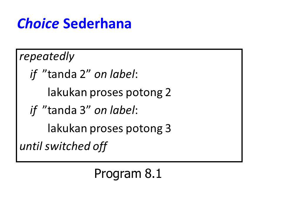 "Choice Sederhana repeatedly if ""tanda 2"" on label: lakukan proses potong 2 if ""tanda 3"" on label: lakukan proses potong 3 until switched off Program 8"
