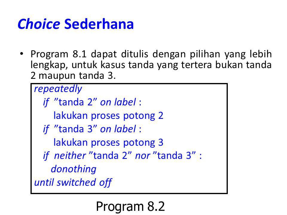 Choice Sederhana Program 8.1 dapat ditulis dengan pilihan yang lebih lengkap, untuk kasus tanda yang tertera bukan tanda 2 maupun tanda 3. repeatedly