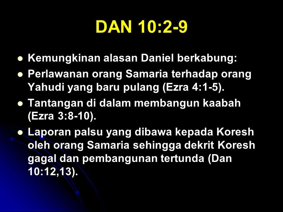 DAN 10:2-9 Kemungkinan alasan Daniel berkabung: Perlawanan orang Samaria terhadap orang Yahudi yang baru pulang (Ezra 4:1-5). Tantangan di dalam memba