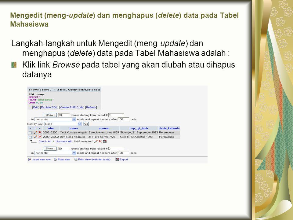 Mengedit (meng-update) dan menghapus (delete) data pada Tabel Mahasiswa Langkah-langkah untuk Mengedit (meng-update) dan menghapus (delete) data pada