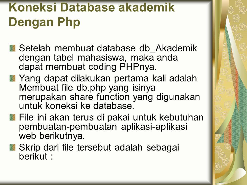 Koneksi Database akademik Dengan Php Setelah membuat database db_Akademik dengan tabel mahasiswa, maka anda dapat membuat coding PHPnya. Yang dapat di