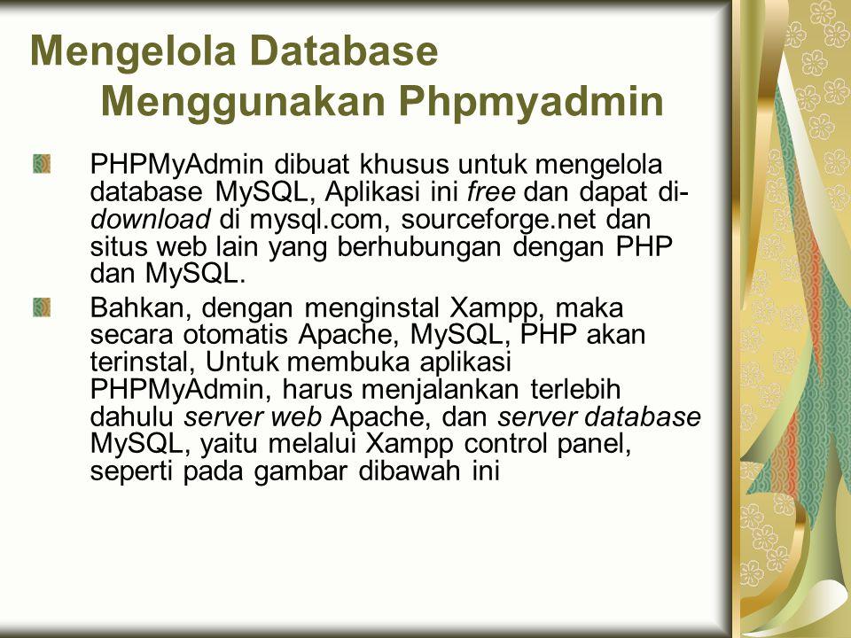 Mengelola Database Menggunakan Phpmyadmin PHPMyAdmin dibuat khusus untuk mengelola database MySQL, Aplikasi ini free dan dapat di- download di mysql.c