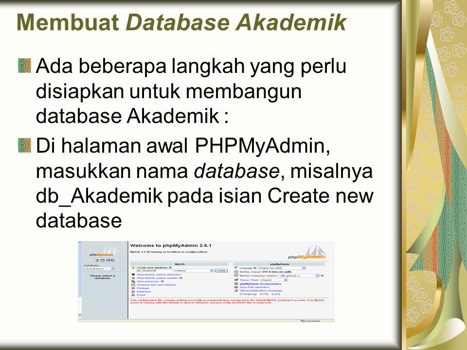 Membuat Database Akademik Ada beberapa langkah yang perlu disiapkan untuk membangun database Akademik : Di halaman awal PHPMyAdmin, masukkan nama data