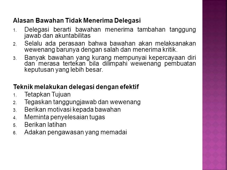 Alasan Bawahan Tidak Menerima Delegasi 1. Delegasi berarti bawahan menerima tambahan tanggung jawab dan akuntabilitas 2. Selalu ada perasaan bahwa baw