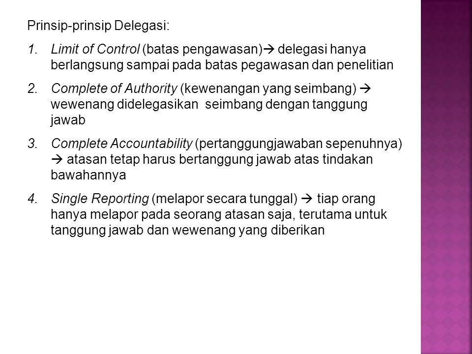 Prinsip-prinsip Delegasi: 1.Limit of Control (batas pengawasan)  delegasi hanya berlangsung sampai pada batas pegawasan dan penelitian 2.Complete of